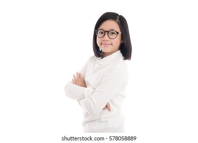 Portrait of beautiful asian girl wearing glasses on white background isolated