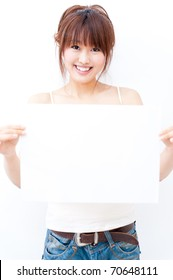 a portrait of beautiful asian woman with blank whiteboard