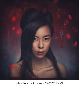 Portrait of beautiful asian woman with elegant hairstyle