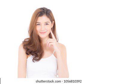 Portrait of beautiful asian woman makeup of cosmetic - girl hand touch cheek and smile on attractive face with skin healthcare concept isolated on white background.