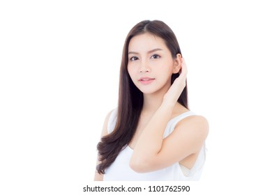 Portrait of beautiful asian woman makeup of cosmetic, beauty of girl with face smile attractive isolated on white background, perfect with wellness and healthcare concept.