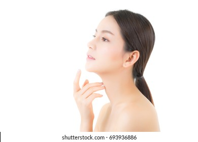Portrait of beautiful asian woman makeup of cosmetic, girl hand touch chin and smile attractive, face of beauty perfect with wellness isolated on white background with skin healthcare concept.