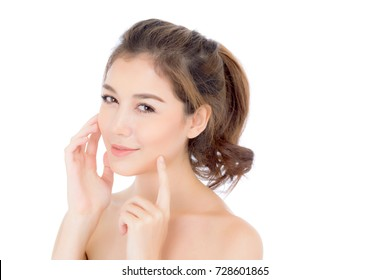 Portrait of beautiful asian woman makeup of cosmetic, girl hand touch cheek and smile attractive, face of beauty perfect with wellness isolated on white background with skin healthcare concept.