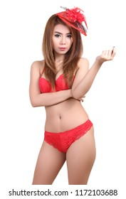 portrait of beautiful asian woman in red bikini