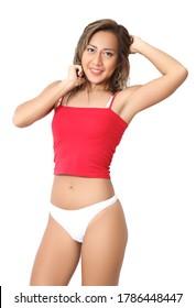 portrait beautiful asian woman in red croptop and white bikini