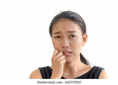 Portrait of beautiful asian woman in stress and looking sad on white