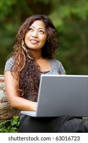 Portrait of beautiful Asian woman using laptop outdoor