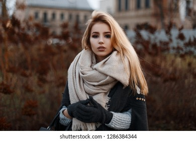 Portrait of a beautiful attractive young girl in a stylish black coat with a beige vintage scarf in black gloves in a knitted sweater on the background of dry grass. Stylish girl.