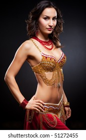 A portrait of a beautiful belly dancer