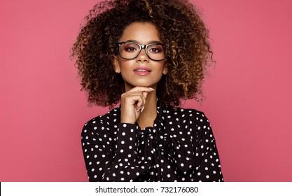 Portrait of the beautiful black woman wear glasses