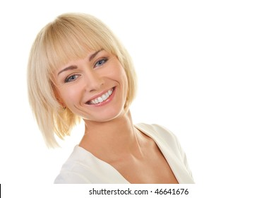 Portrait of a beautiful blond woman isolated on white background