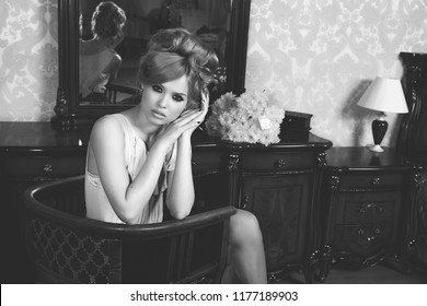 Portrait of Beautiful Blond Woman with Long Hair and Clean Skin. Brigitte Bardot look