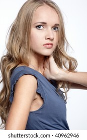 portrait of beautiful blonde blue-eyed girl