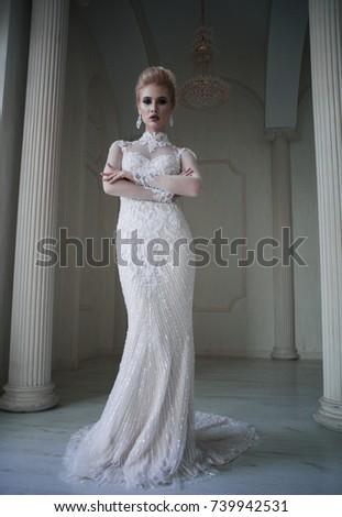 Portrait Beautiful Blonde Bride Fashion Hairstyle Stock Photo Edit