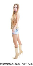 portrait of a beautiful blonde in full-length with long hair, denim short shorts with high heels