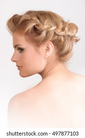 Portrait of beautiful blonde woman with hairstyle