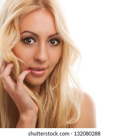 Portrait of beautiful blonde woman with long hair