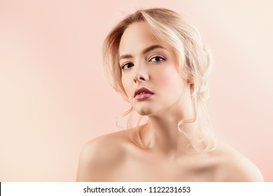 Portrait of a beautiful blonde woman with natural make-up. Beauty, skincare, cosmetics concept. Healthcare.