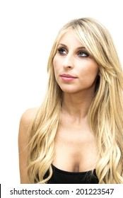 Portrait of Beautiful Blonde Woman Over White Background