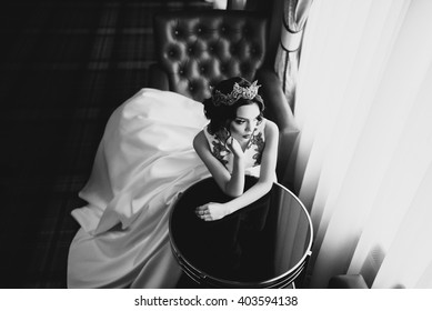 Portrait of beautiful bride a wedding dress