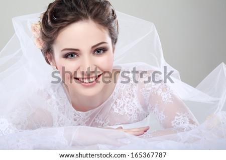Portrait Beautiful Bride Wedding Dress Wedding Stockfoto Jetzt