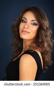portrait beautiful brunet make up