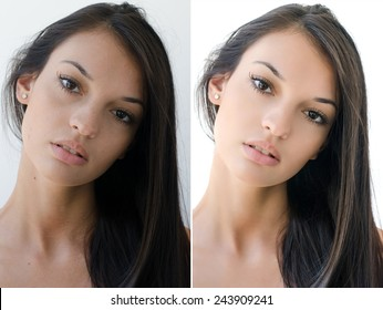 Portrait of a beautiful brunette girl before and after retouching with photoshop. Aging versus young, acne beauty treatment. Isolated on white background. Edited photos being compared.