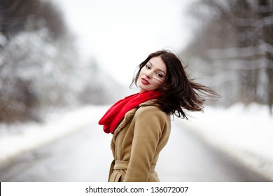 Portrait of a beautiful brunette with hair blown by wind in the winter