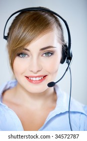 Portrait of beautiful business woman with headset