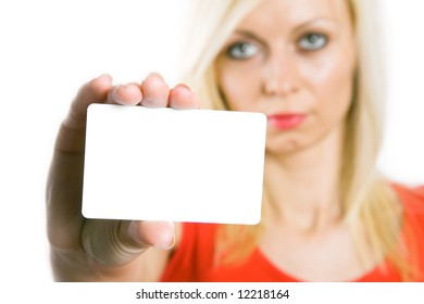 Portrait of a beautiful business woman holding a blank white notecard (business card)