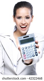 Portrait of a beautiful business woman holding a calculator