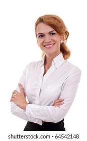 Portrait of a beautiful business woman, isolated on a white background