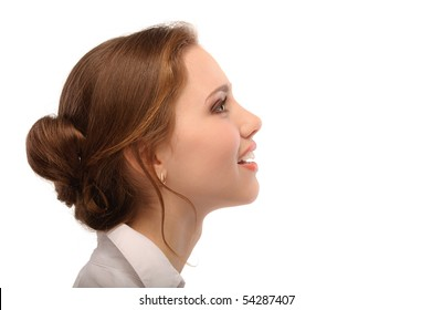 Portrait of beautiful business woman in profile, isolated on white background.