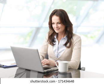 Portrait of a beautiful business woman sitting in the office