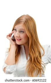 Portrait of beautiful business woman using mobile phone