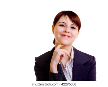 portrait of beautiful businesswoman isolated on white background