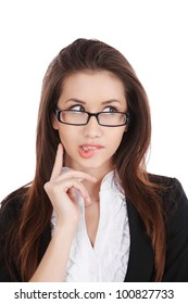 Portrait of beautiful businesswoman thinking about her problem on a white background