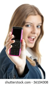 Portrait of a beautiful businesswoman using mobile phone - Focus is on the cellphone