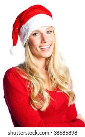 A portrait of a beautiful caucasian christmas santa girl