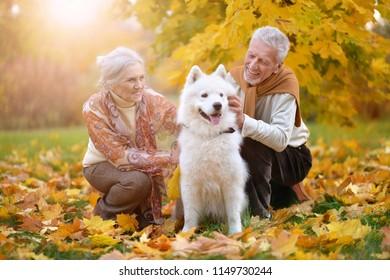 portrait of beautiful caucasian senior couple with dog