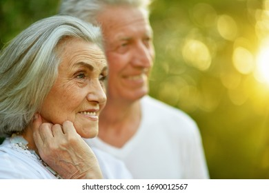 Portrait of beautiful caucasian senior couple posing in the summer park
