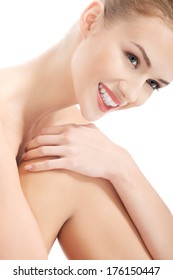 Portrait of beautiful caucasian woman with fresh clean skin. Spa concept. Isolated on white.