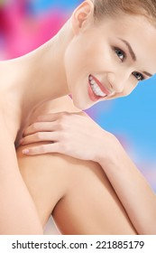 Portrait of beautiful caucasian woman with fresh clean skin. Spa concept