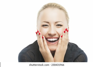 Portrait of Beautiful Caucasian Woman Smiling with Open Mouth with Palms Touching Cheeks. Isolated over Pure White Background. Horizontal Image