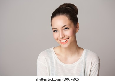 Portrait of a beautiful charming happy brunette woman.