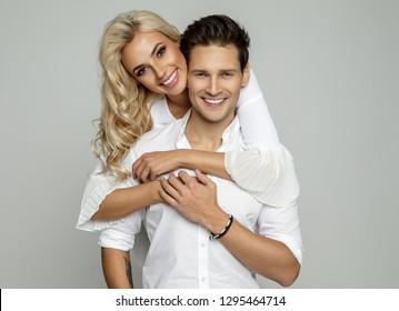 Portrait of beautiful cheerful couple