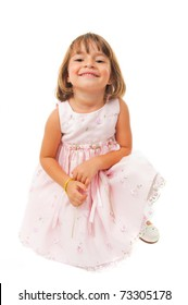 Portrait of beautiful child smilling on white background .