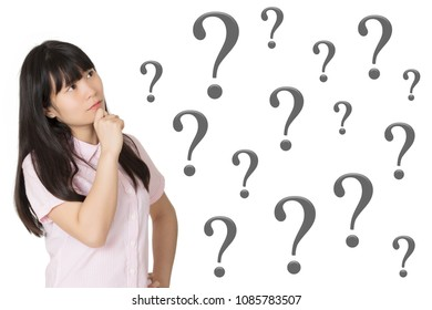 Portrait of a Beautiful Chinese American woman deep in thought with question marks isolated on a white background