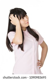 Portrait of a Beautiful Chinese American woman deep in thought isolated on a white background