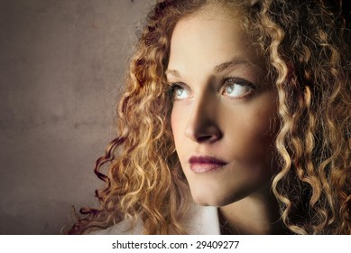portrait of beautiful curly girl